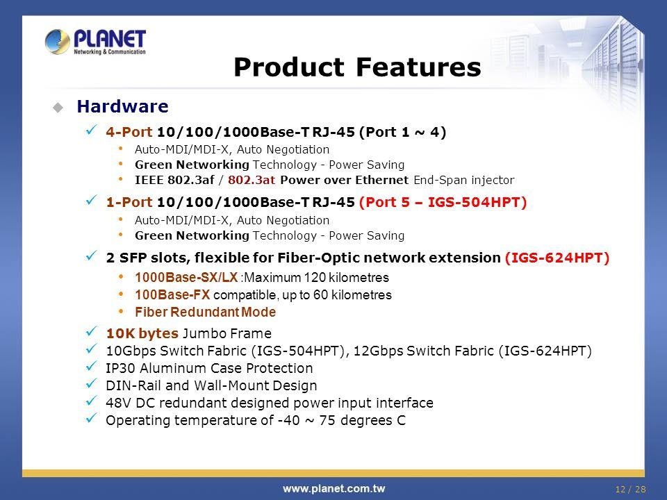 12 / 28  Hardware 4-Port 10/100/1000Base-T RJ-45 (Port 1 ~ 4) Auto-MDI/MDI-X, Auto Negotiation Green Networking Technology - Power Saving IEEE 802.3a