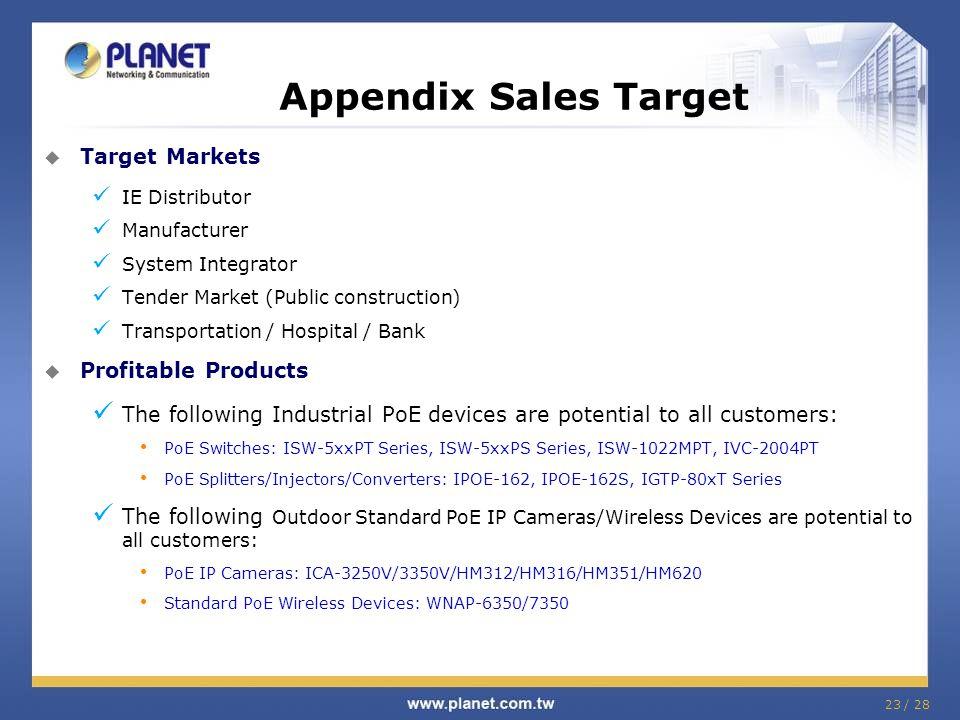 23 / 28  Target Markets IE Distributor Manufacturer System Integrator Tender Market (Public construction) Transportation / Hospital / Bank  Profitab