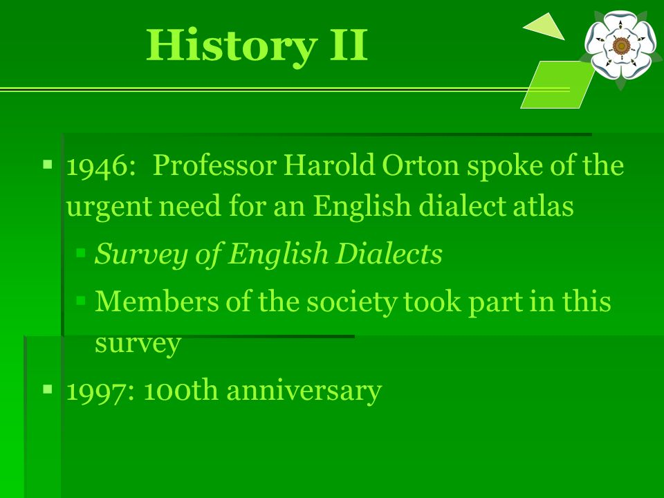 History II   1946: Professor Harold Orton spoke of the urgent need for an English dialect atlas   Survey of English Dialects   Members of the society took part in this survey   1997: 100th anniversary