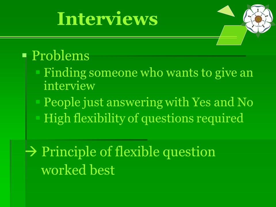 Interviews   Problems   Finding someone who wants to give an interview   People just answering with Yes and No   High flexibility of questions