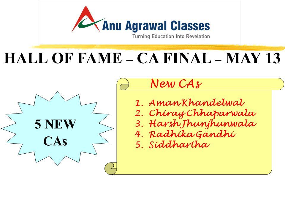 HALL OF FAME – CA FINAL – MAY 13 New CAs 1.Aman Khandelwal 2.Chirag Chhaparwala 3.Harsh Jhunjhunwala 4.Radhika Gandhi 5.Siddhartha 5 NEW CAs