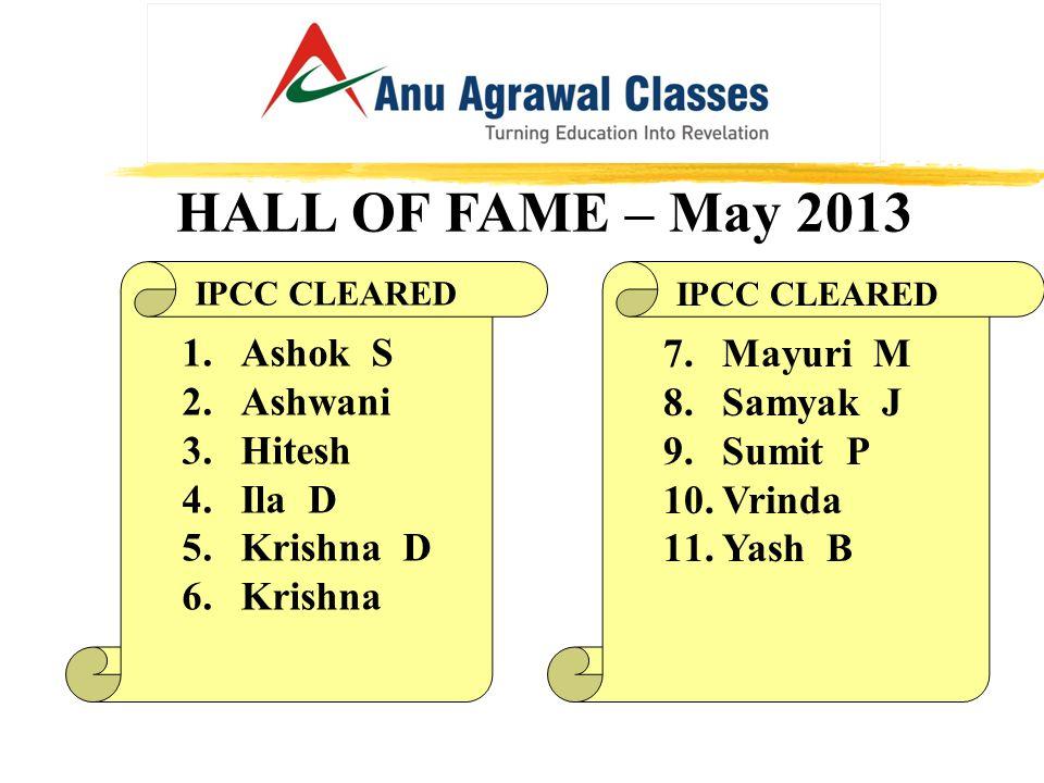 HALL OF FAME – May 2013 IPCC CLEARED 7.Mayuri M 8.Samyak J 9.Sumit P 10.Vrinda 11.Yash B IPCC CLEARED 1.Ashok S 2.Ashwani 3.Hitesh 4.Ila D 5.Krishna D 6.Krishna