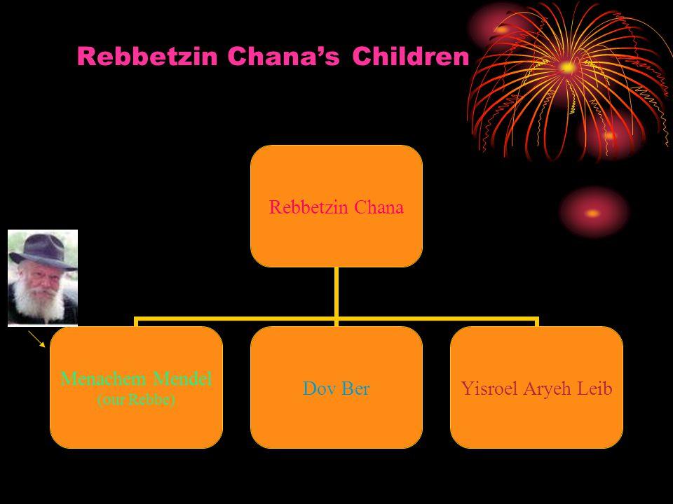 Rebbetzin Chana's Children Rebbetzin Chana Menachem Mendel (our Rebbe) Dov Ber Yisroel Aryeh Leib