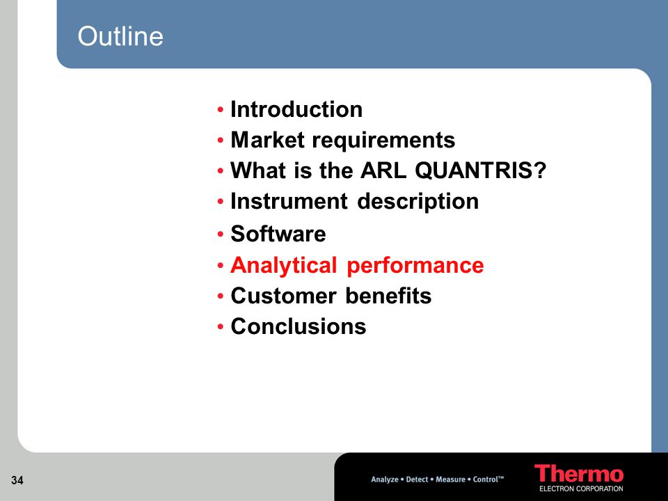 34 Outline Introduction Market requirements What is the ARL QUANTRIS.