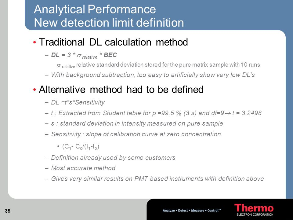35 Analytical Performance New detection limit definition Traditional DL calculation method –DL = 3 *  relative * BEC  relative relative standard deviation stored for the pure matrix sample with 10 runs –With background subtraction, too easy to artificially show very low DL's Alternative method had to be defined –DL =t*s*Sensitivity –t : Extracted from Student table for p =99.5 % (3 s) and df=9  t = 3.2498 –s : standard deviation in intensity measured on pure sample –Sensitivity : slope of calibration curve at zero concentration (C 1 - C o /(I 1 -I o ) –Definition already used by some customers –Most accurate method –Gives very similar results on PMT based instruments with definition above