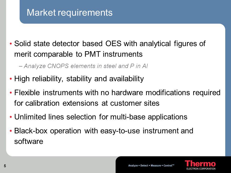5 Market requirements Solid state detector based OES with analytical figures of merit comparable to PMT instruments –Analyze CNOPS elements in steel and P in Al High reliability, stability and availability Flexible instruments with no hardware modifications required for calibration extensions at customer sites Unlimited lines selection for multi-base applications Black-box operation with easy-to-use instrument and software