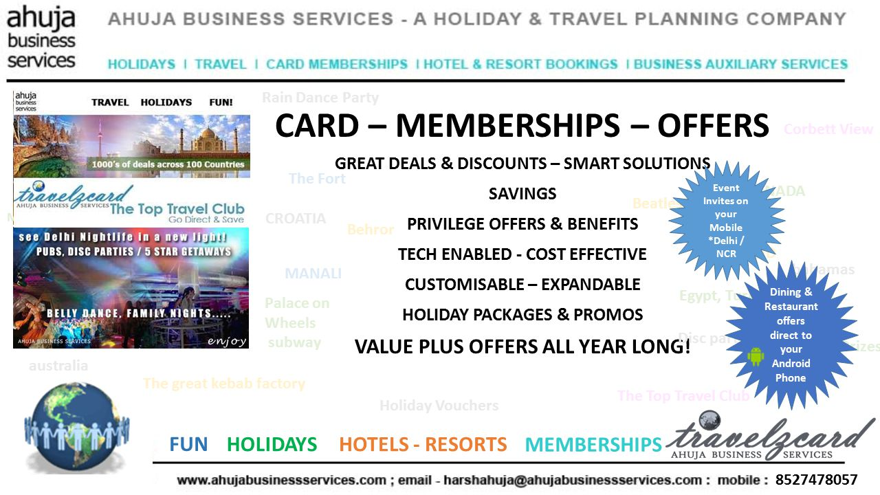 8527478057 FUN HOLIDAYSHOTELS - RESORTS MEMBERSHIPS CARD – MEMBERSHIPS – OFFERS GREAT DEALS & DISCOUNTS – SMART SOLUTIONS SAVINGS PRIVILEGE OFFERS & BENEFITS TECH ENABLED - COST EFFECTIVE CUSTOMISABLE – EXPANDABLE HOLIDAY PACKAGES & PROMOS VALUE PLUS OFFERS ALL YEAR LONG.