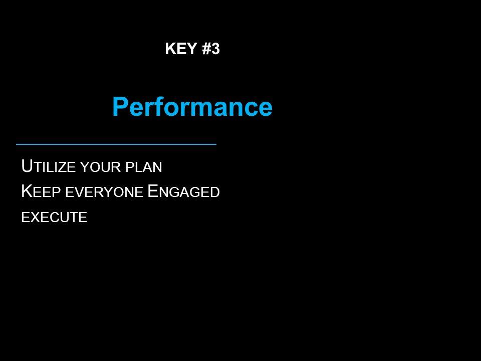 KEY #3 Performance U TILIZE YOUR PLAN K EEP EVERYONE E NGAGED EXECUTE