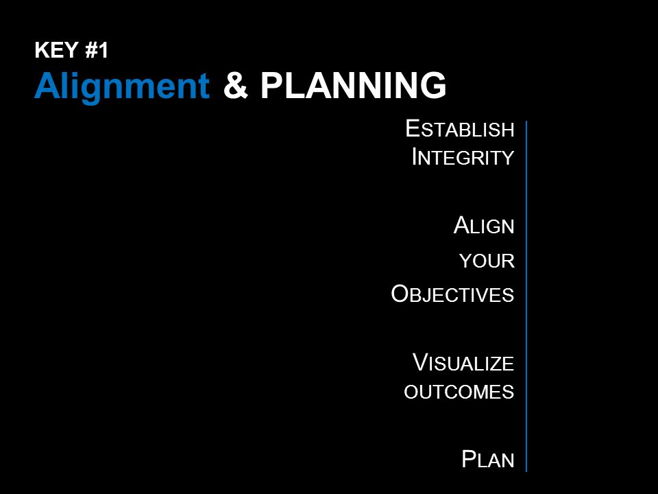 KEY #1 Alignment & PLANNING E STABLISH I NTEGRITY A LIGN YOUR O BJECTIVES V ISUALIZE OUTCOMES P LAN