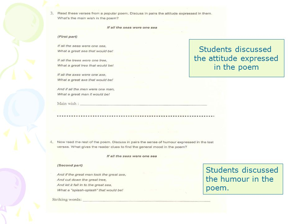 Students discussed the attitude expressed in the poem Students discussed the humour in the poem.