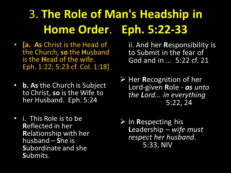 3. The Role of Man's Headship in Home Order. Eph. 5:22-33 [a. As Christ is the Head of the Church, so the Husband is the Head of the wife. Eph. 1:22;