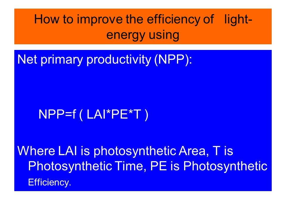How to improve the efficiency of light- energy using Net primary productivity (NPP): NPP=f ( LAI*PE*T ) Where LAI is photosynthetic Area, T is Photosy