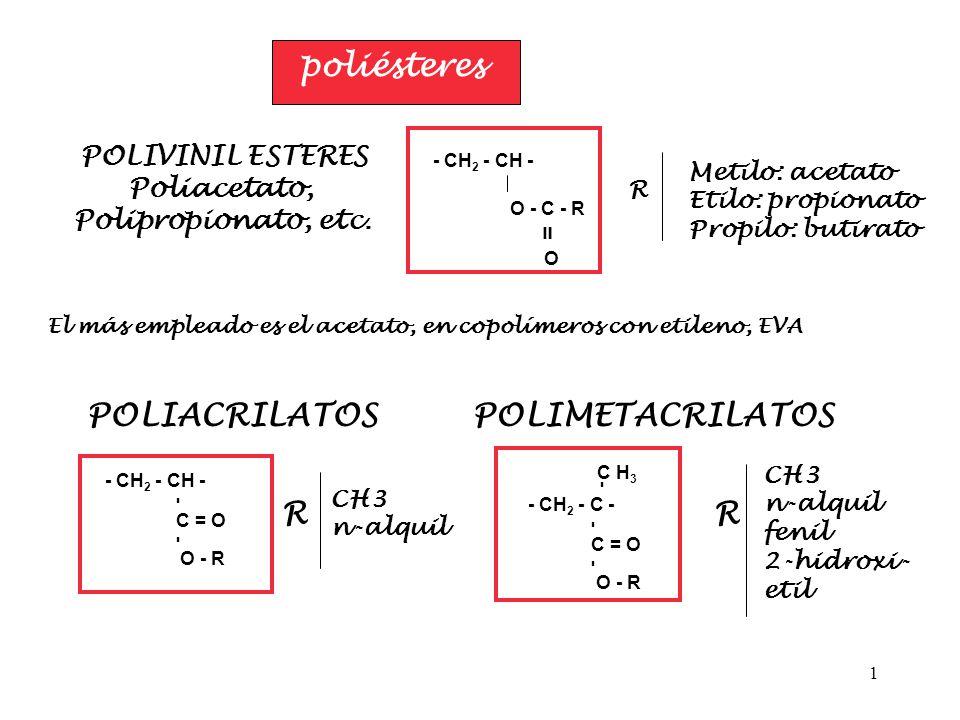 1 poliésteres POLIVINIL ESTERES Poliacetato, Polipropionato, etc. - CH 2 - CH - O - C - R = O R Metilo: acetato Etilo: propionato Propilo: butirato El