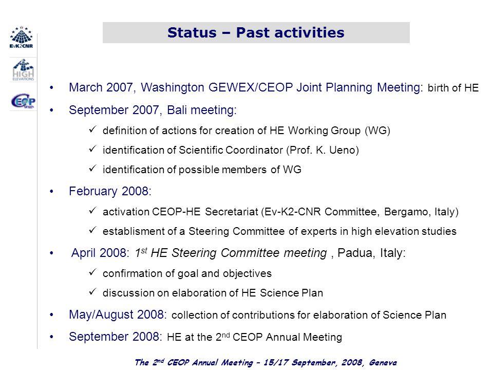 CEOP High Elevations Steering Committee