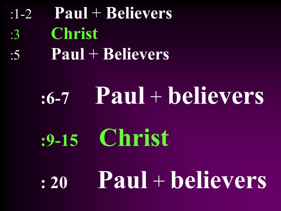 :1-2 Paul + Believers :3 Christ :5 Paul + Believers :6-7 Paul + believers :9-15 Christ : 20 Paul + believers