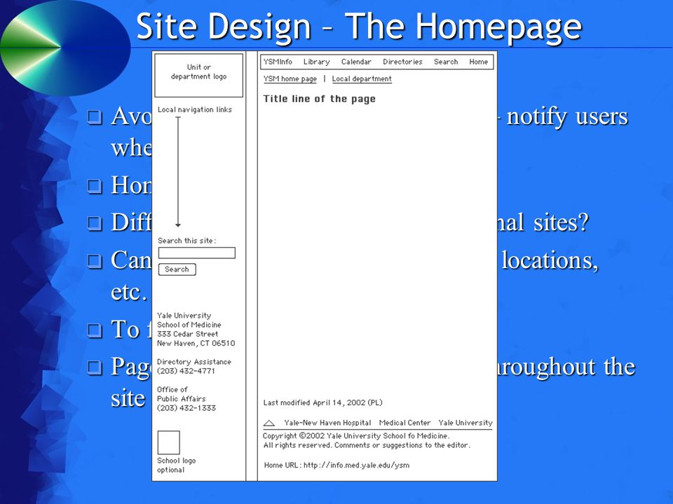 Site Design – The Homepage  Avoid pop-ups as much as possible – notify users when there are inevitable  Home page & subsection homepages  Different layout, or the same as internal sites.
