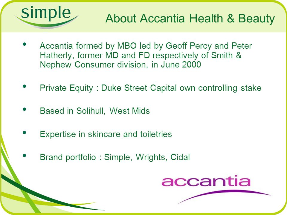 About Accantia Health & Beauty Accantia formed by MBO led by Geoff Percy and Peter Hatherly, former MD and FD respectively of Smith & Nephew Consumer division, in June 2000 Private Equity : Duke Street Capital own controlling stake Based in Solihull, West Mids Expertise in skincare and toiletries Brand portfolio : Simple, Wrights, Cidal