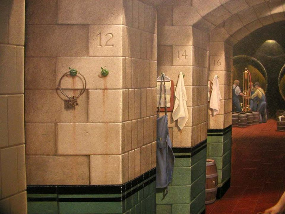 After Photos - Past meets Present in the Miller Brewery Fermenting Rooms – hooks, clipboards and aprons were added to the surface of the murals to enhance the illusion.