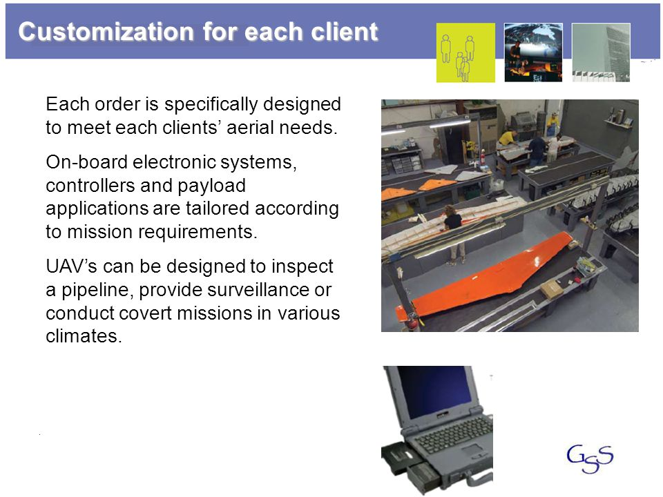 Customization for each client Each order is specifically designed to meet each clients' aerial needs. On-board electronic systems, controllers and pay