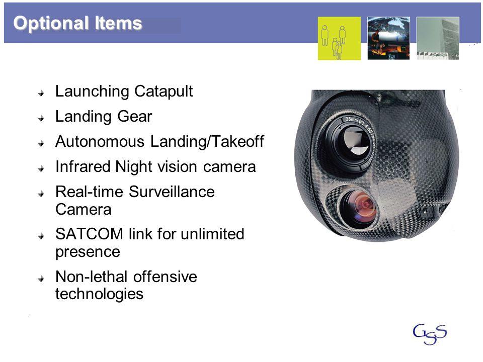 Optional Items Launching Catapult Landing Gear Autonomous Landing/Takeoff Infrared Night vision camera Real-time Surveillance Camera SATCOM link for u