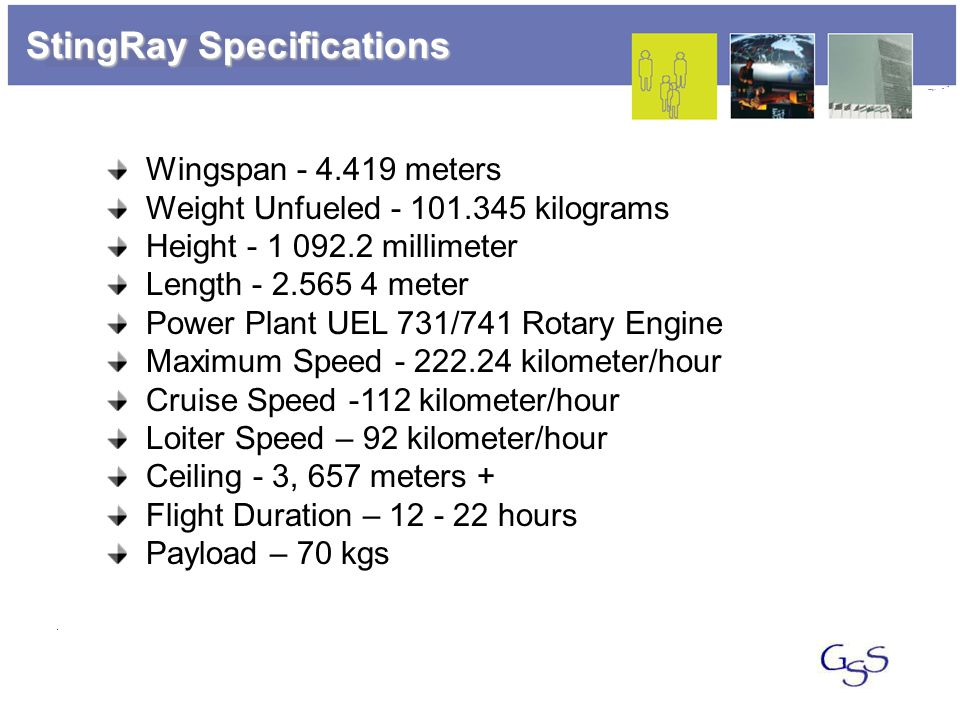 StingRay Specifications Wingspan - 4.419 meters Weight Unfueled - 101.345 kilograms Height - 1 092.2 millimeter Length - 2.565 4 meter Power Plant UEL