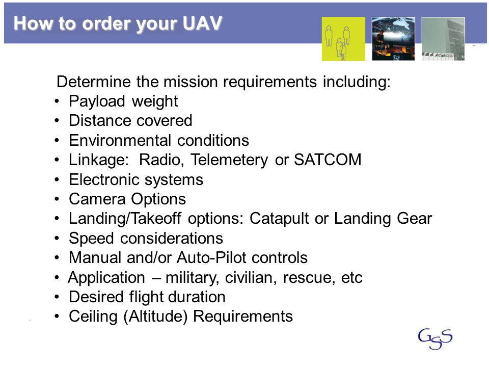 How to order your UAV Determine the mission requirements including: Payload weight Distance covered Environmental conditions Linkage: Radio, Telemetery or SATCOM Electronic systems Camera Options Landing/Takeoff options: Catapult or Landing Gear Speed considerations Manual and/or Auto-Pilot controls Application – military, civilian, rescue, etc Desired flight duration Ceiling (Altitude) Requirements