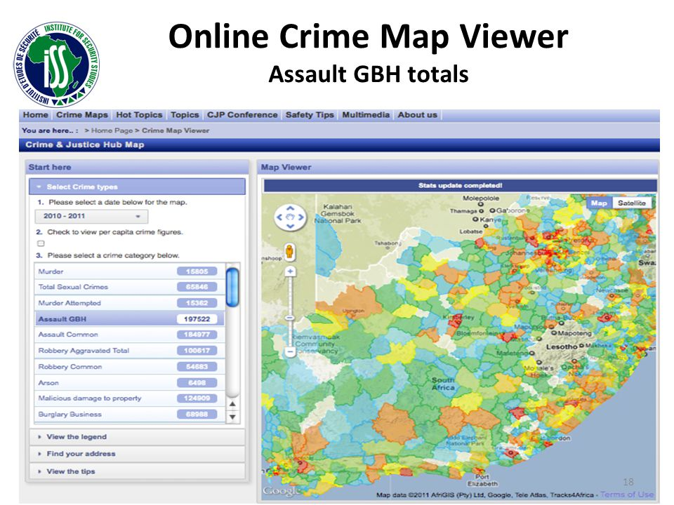 Online Crime Map Viewer Assault GBH totals 18