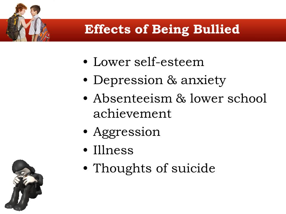 Effects of Being Bullied Lower self-esteem Depression & anxiety Absenteeism & lower school achievement Aggression Illness Thoughts of suicide