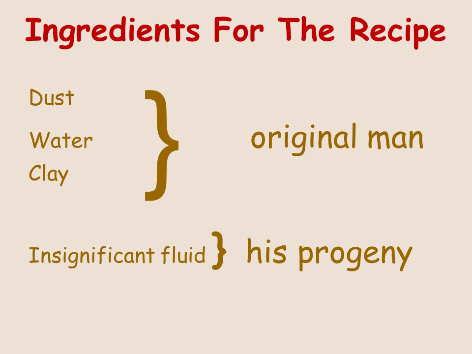 Ingredients For The Recipe Dust Water original man Clay Insignificant fluid } his progeny }