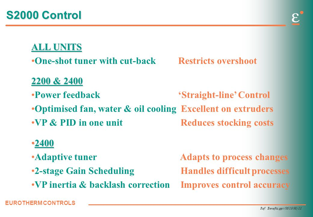 Ref: Benefits.ppt (06/19/98) 11 EUROTHERM CONTROLS S2000 Control ALL UNITS One-shot tuner with cut-back Restricts overshoot 2200 & 2400 Power feedback 'Straight-line' Control Optimised fan, water & oil cooling Excellent on extruders VP & PID in one unit Reduces stocking costs 24002400 Adaptive tuner Adapts to process changes 2-stage Gain Scheduling Handles difficult processes VP inertia & backlash correction Improves control accuracy