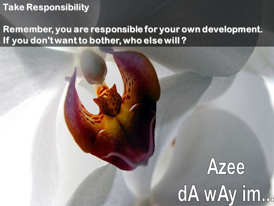 Take Responsibility Remember, you are responsible for your own development.