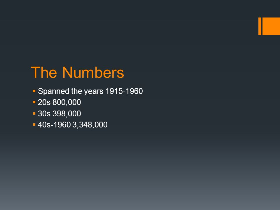 The Numbers  Spanned the years 1915-1960  20s 800,000  30s 398,000  40s-1960 3,348,000