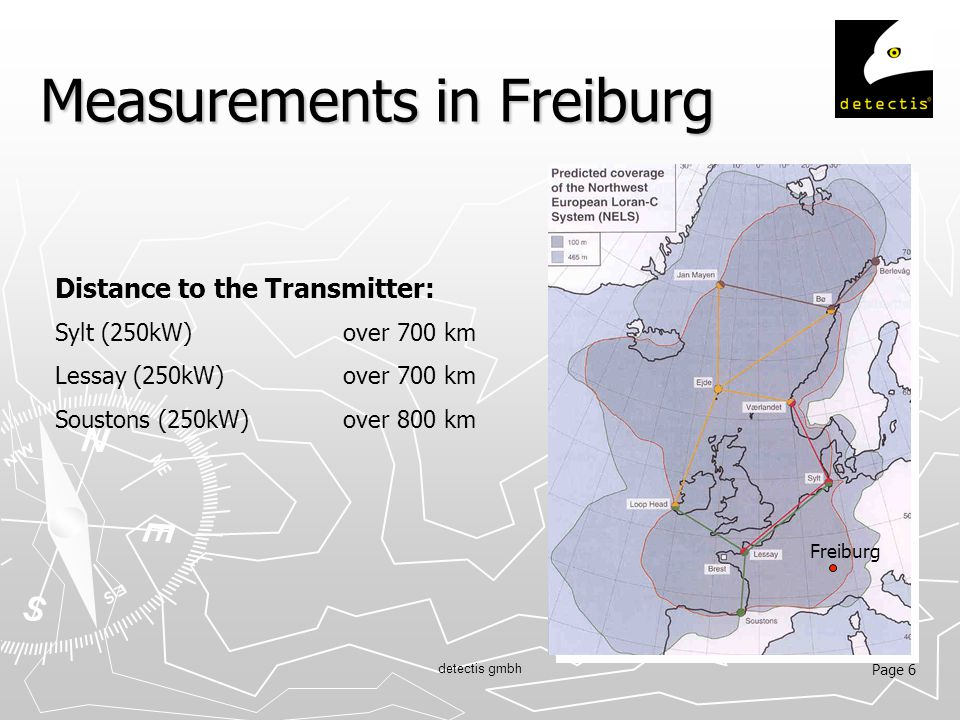 Page 6 detectis gmbh Measurements in Freiburg Distance to the Transmitter: Sylt (250kW)over 700 km Lessay (250kW) over 700 km Soustons (250kW)over 800 km Freiburg