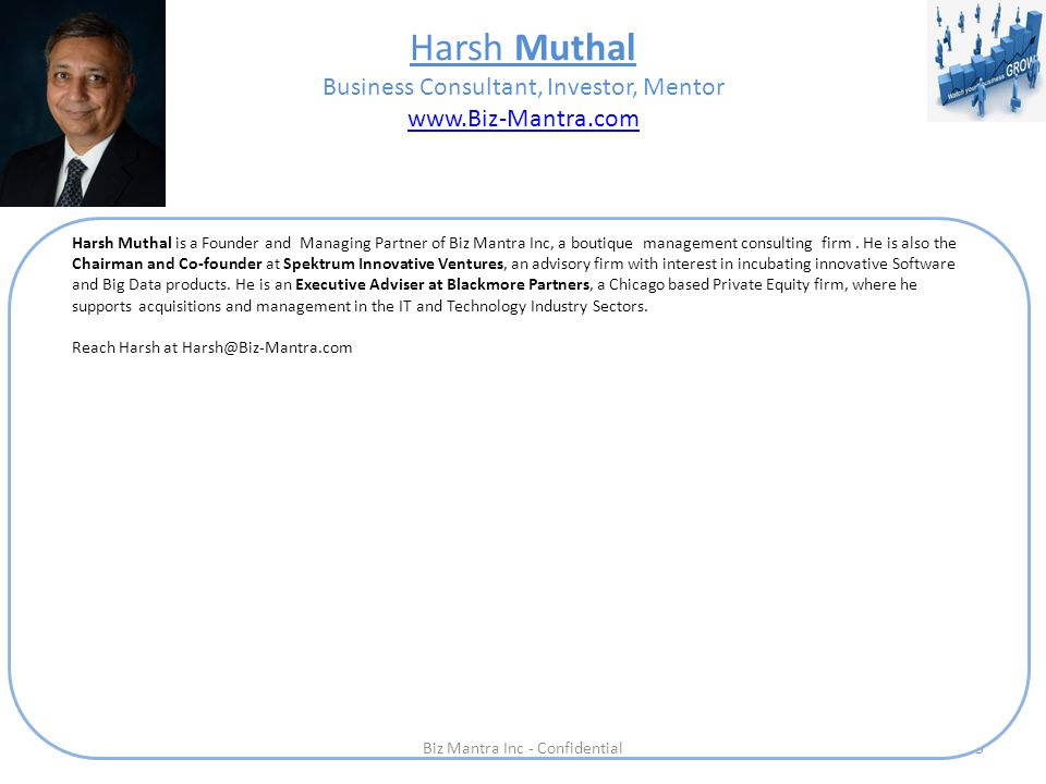 Harsh Muthal Business Consultant, Investor, Mentor www.Biz-Mantra.com www.Biz-Mantra.com 3 Harsh Muthal is a Founder and Managing Partner of Biz Mantra Inc, a boutique management consulting firm.