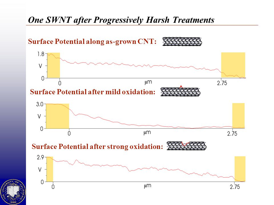 One SWNT after Progressively Harsh Treatments Surface Potential along as-grown CNT: Surface Potential after mild oxidation: Surface Potential after st