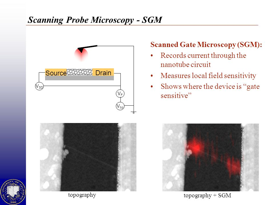 Scanning Probe Microscopy - SGM Scanned Gate Microscopy (SGM): Records current through the nanotube circuit Measures local field sensitivity Shows where the device is gate sensitive Source V SD V tip Drain VFVF topography topography + SGM
