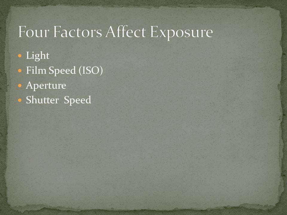 Light Film Speed (ISO) Aperture Shutter Speed