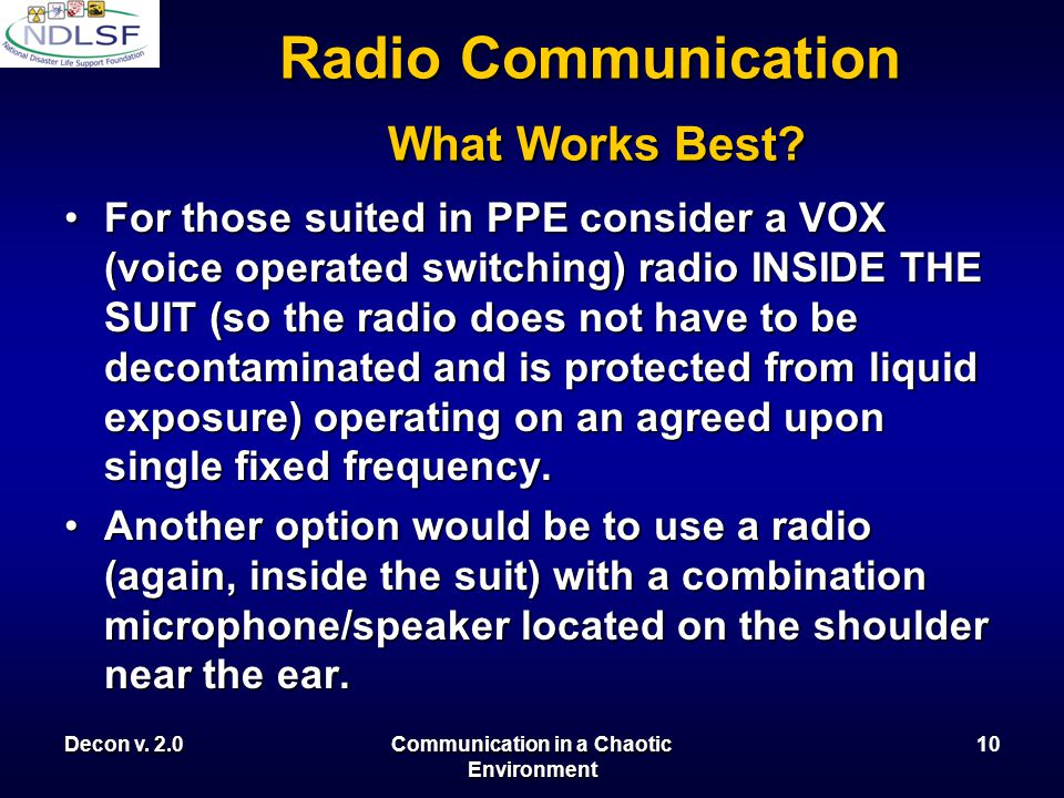 Decon v. 2.0Communication in a Chaotic Environment 9 Radio Communication What Works Best?
