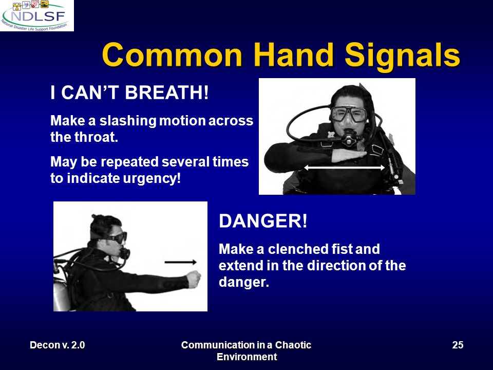 Decon v. 2.0Communication in a Chaotic Environment 24 Common Hand Signals HELP ME! Wave either arm in big arches From a distance with one hand occupie
