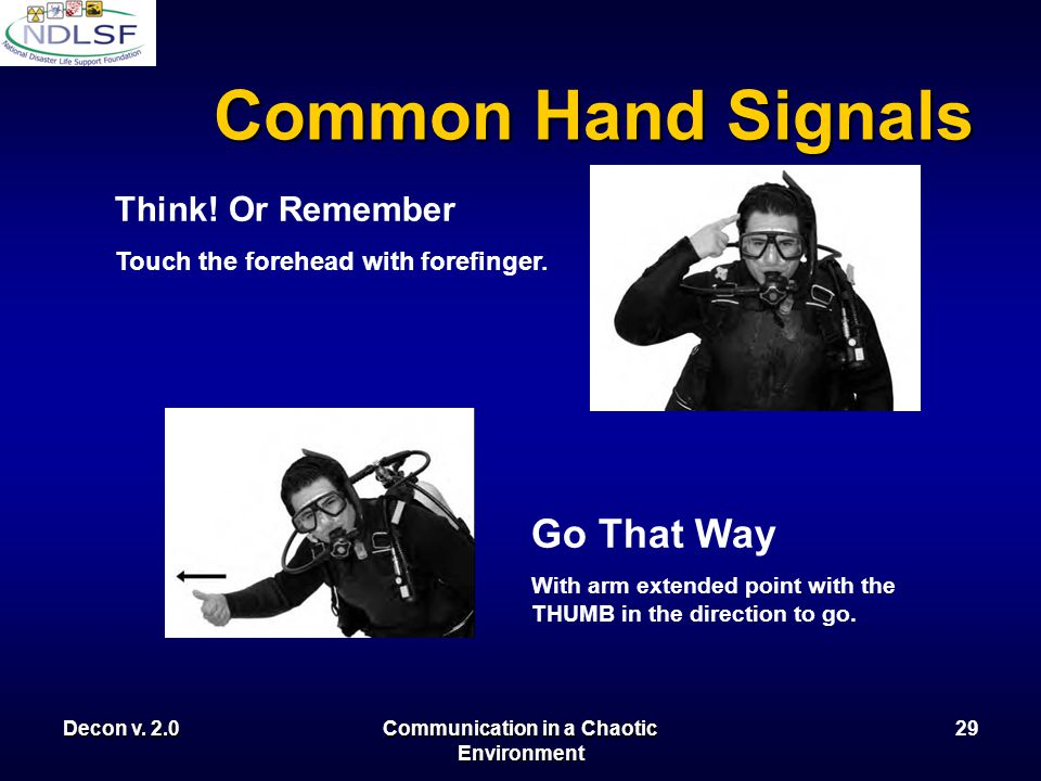 Decon v. 2.0Communication in a Chaotic Environment 28 Common Hand Signals Turn Around Extend the forefinger of one hand vertically and rotate the hand