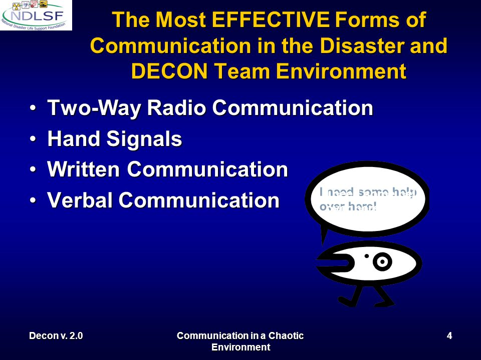 Decon v. 2.0Communication in a Chaotic Environment 3 Available Types of Communication Verbal CommunicationVerbal Communication Phone System (Land Line