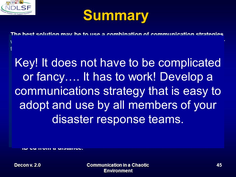 Decon v. 2.0Communication in a Chaotic Environment 44 Summary The best solution may be to use a combination of communication strategies with some meas