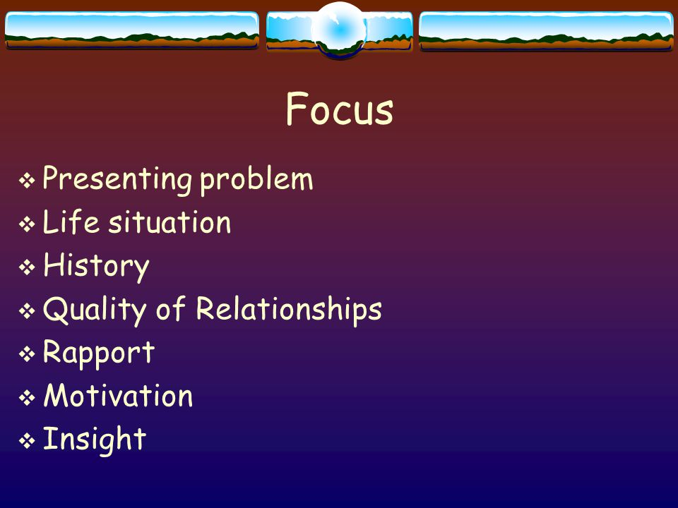 Focus  Presenting problem  Life situation  History  Quality of Relationships  Rapport  Motivation  Insight