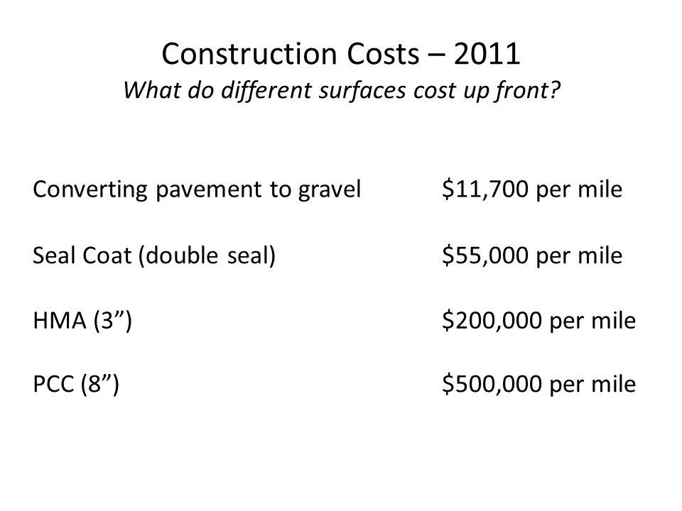 Converting pavement to gravel$11,700 per mile Construction Costs – 2011 What do different surfaces cost up front? Seal Coat (double seal)$55,000 per m