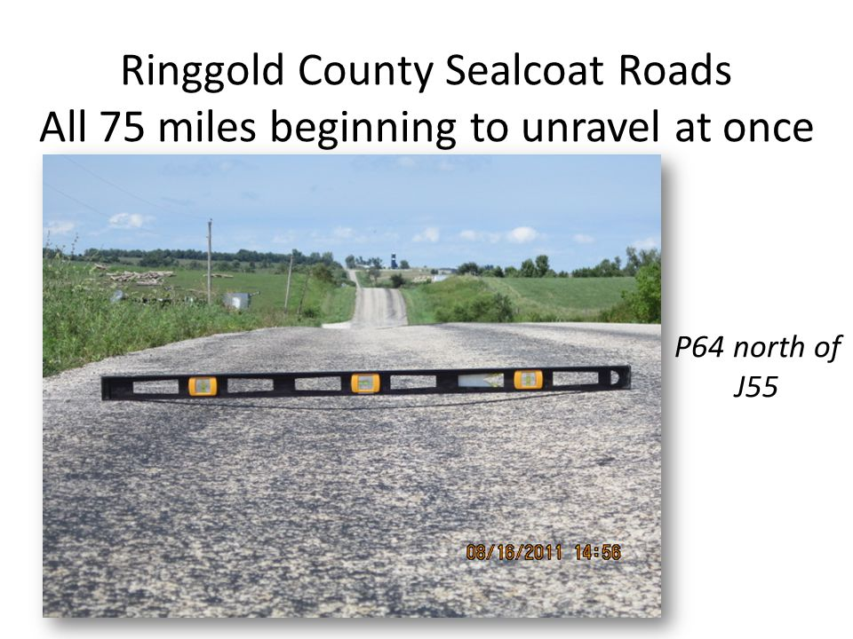 Ringgold County Sealcoat Roads All 75 miles beginning to unravel at once P64 north of J55