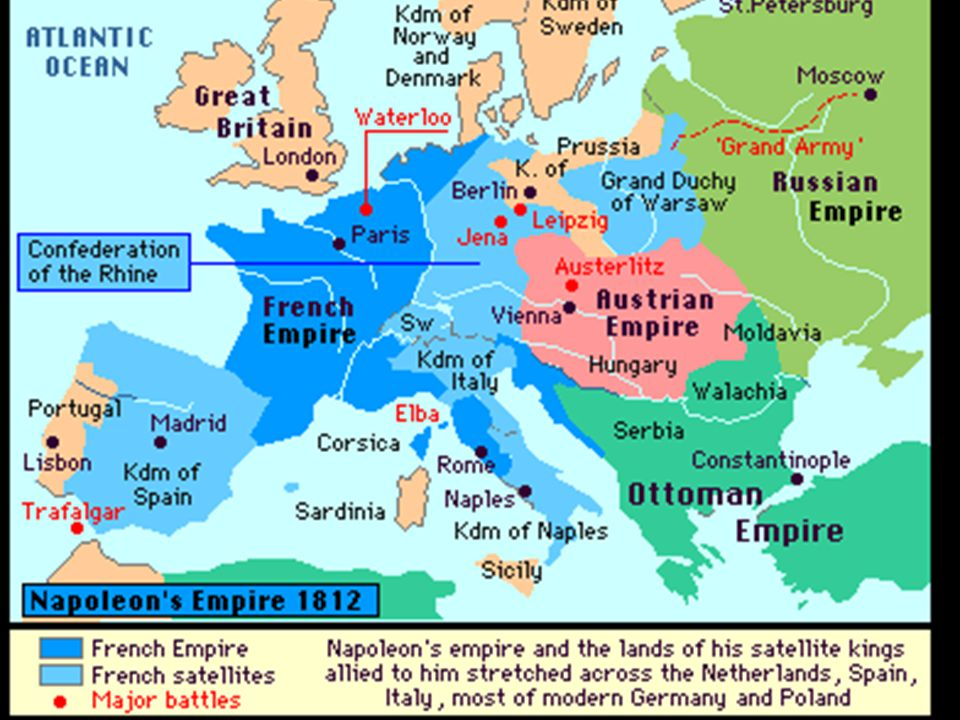 The Empire Great victories enable Napoleon to reorganize Europe (see map) Holy Roman Empire Ended Formed the Confederation of the Rhine (small German states) Created Grand Duchy of Warsaw - Poland - out of some of Russian, Prussian & Austrian territory Took over Spanish throne (Brother Joseph)