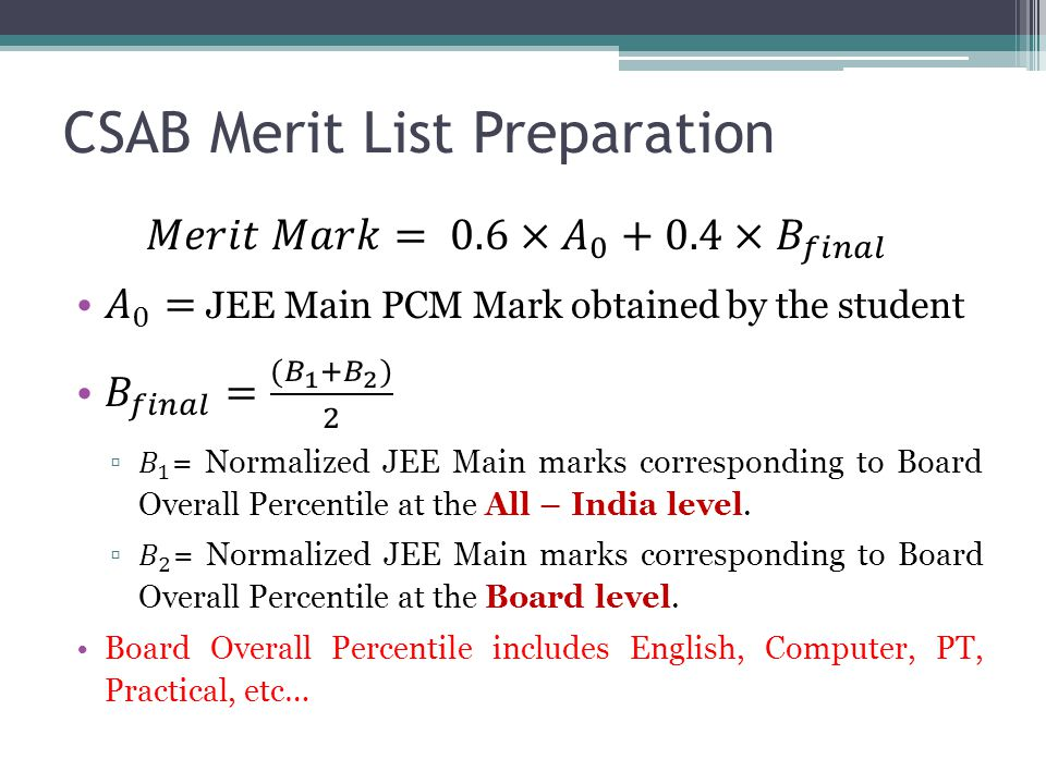 CSAB Merit List Preparation