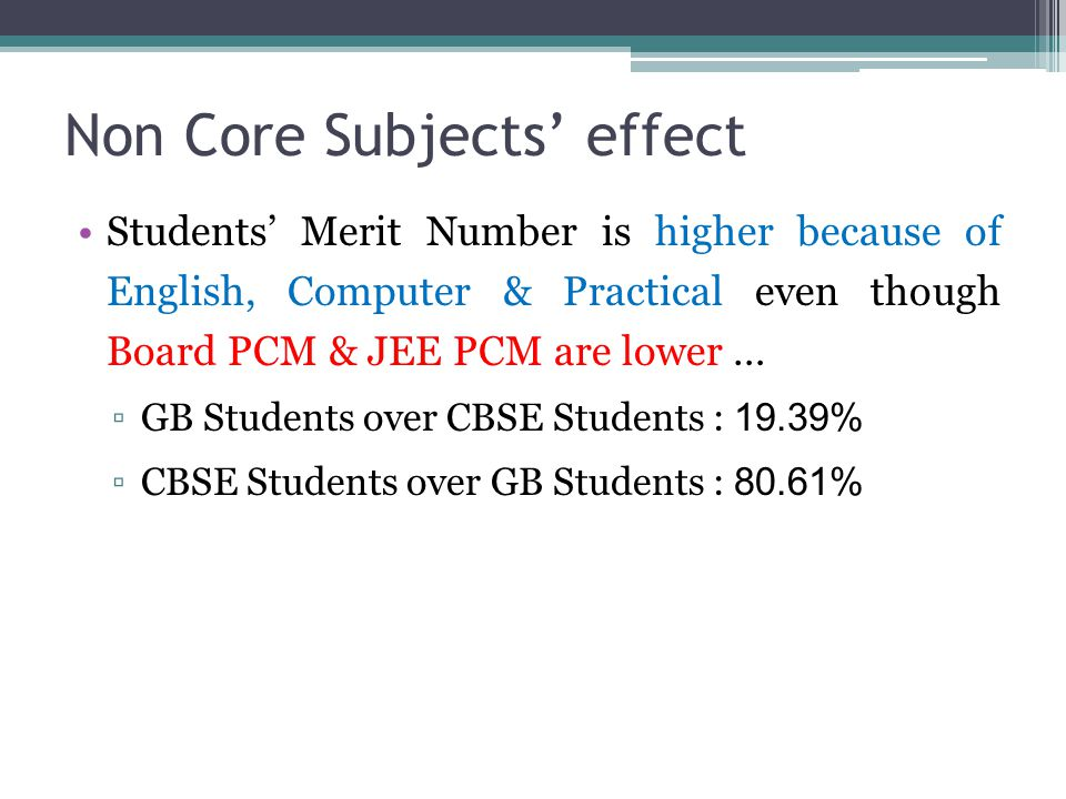 Non Core Subjects' effect Students' Merit Number is higher because of English, Computer & Practical even though Board PCM & JEE PCM are lower … ▫GB St