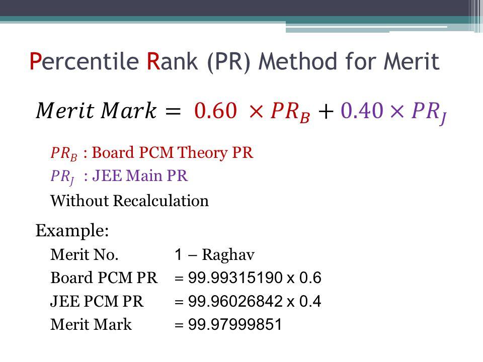 Percentile Rank (PR) Method for Merit