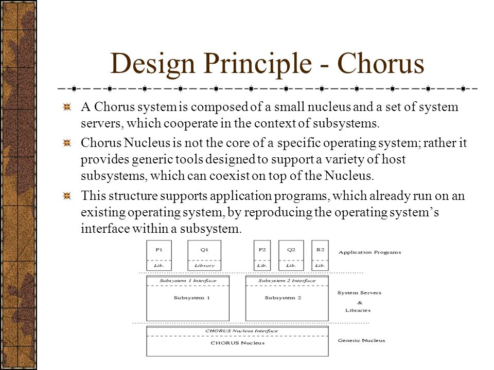 Design Principle - Chorus A Chorus system is composed of a small nucleus and a set of system servers, which cooperate in the context of subsystems.